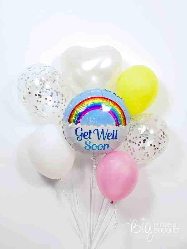 Get Well Deluxe Balloons (foil balloon, two confetti balloons, three latex balloons, heart shape balloon) by The Big Flower Bouquet