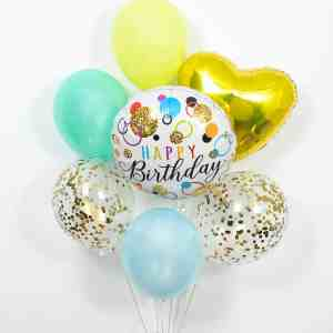 Happy Birthday Deluxe Balloons (foil balloon, three latex balloons, two confetti balloons, heart shape balloon) by The Big Flower Bouquet