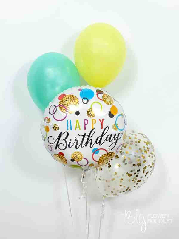Happy Birthday Premium Balloons (foil balloon, two latex balloons, confetti balloon) by The Big Flower Bouquet