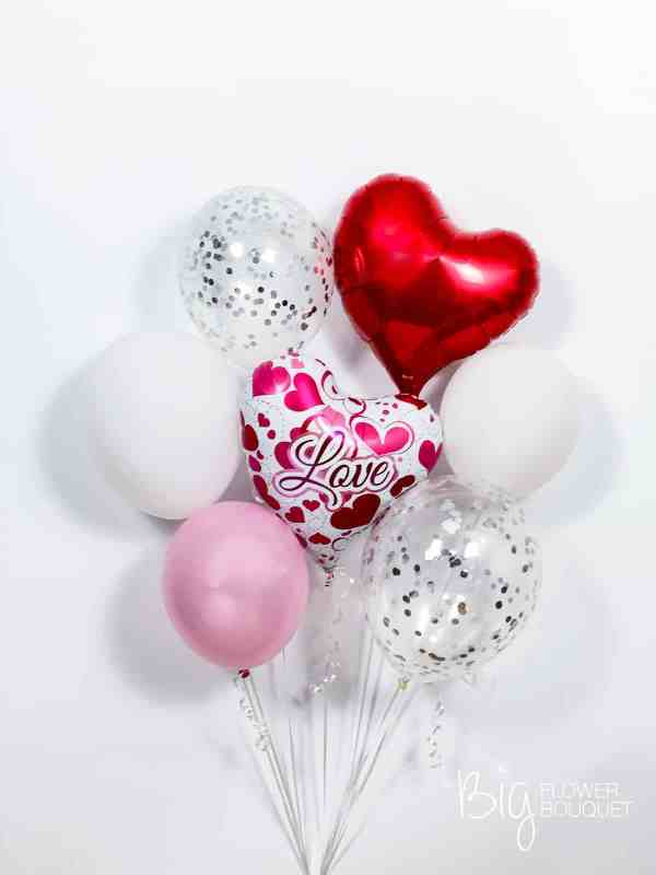 Love Deluxe Balloons (foil balloon, two confetti balloons, three latex balloons, heart shape balloon) by The Big Flower Bouquet