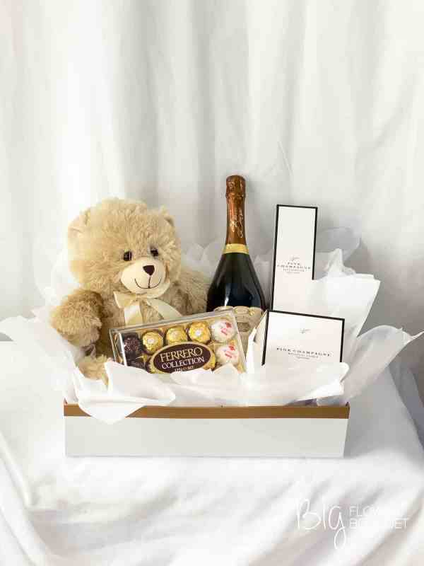 Example of Hamper and Giftware in Premium Box - Cream Teddy Bear, Ferrero Collection Chocolate, Grant Burge Sparkling Wine, Pink Champagne Eco Cadawick Candles and Reed Diffusers by The Big Flower Bouquet
