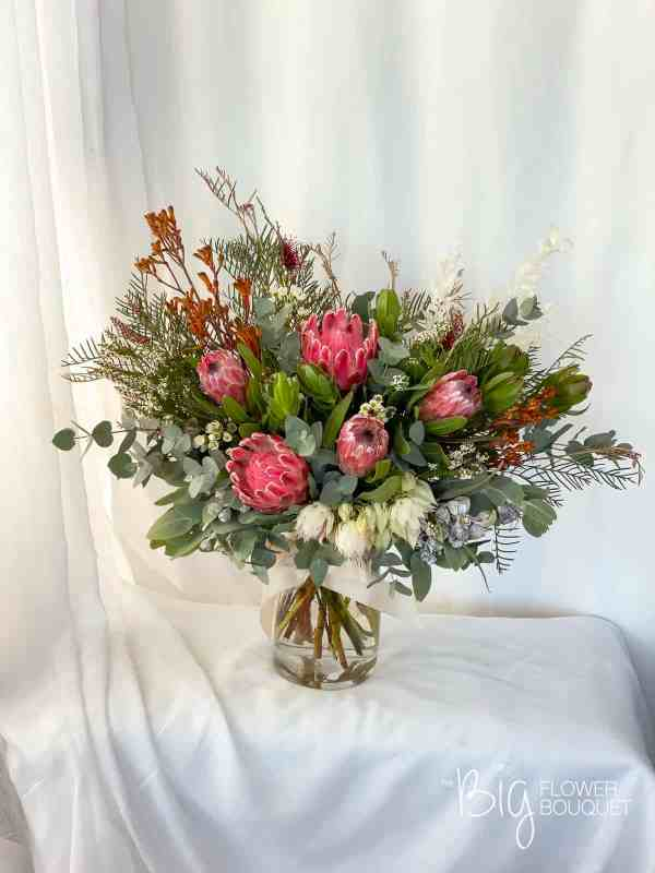 Native Deluxe Fresh Flower Arrangements in a Glass Vase by The Big Flower Bouquet
