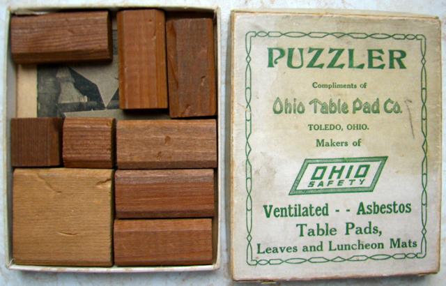 Puzzler Sliding Block Puzzle, 1926, J.W. Hayward; Premium From Ohio Table  Pad Co