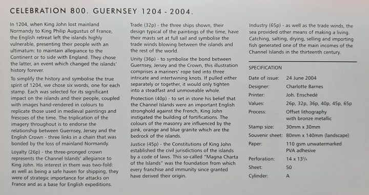 Celebration 800. Guernsey 1204-2004
