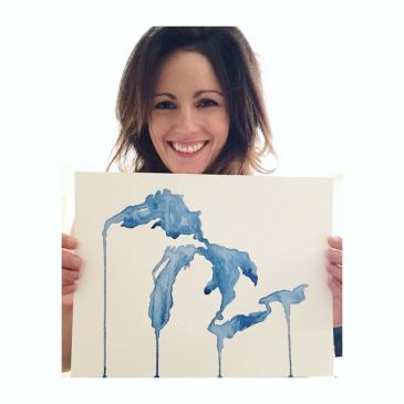 """Chelsea (me!) and my """"Unsalted Shores"""" painting"""