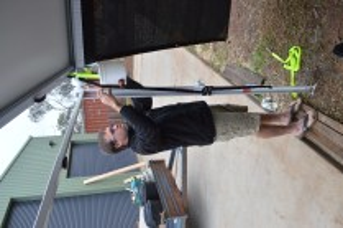 Timbo putting the Rain Saver on.