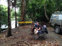 Stopping for lunch in the Daintree, you can't swim to the right of the sign, but go for a walk a but up the left...