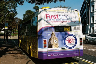 One of our mega-rear bus ads on display in Brighton