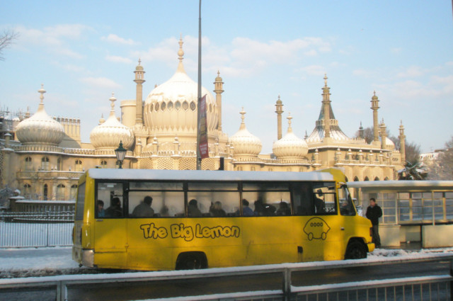 Our Minibus in front of Brighton Pavilion on its way to the Universities in the snow