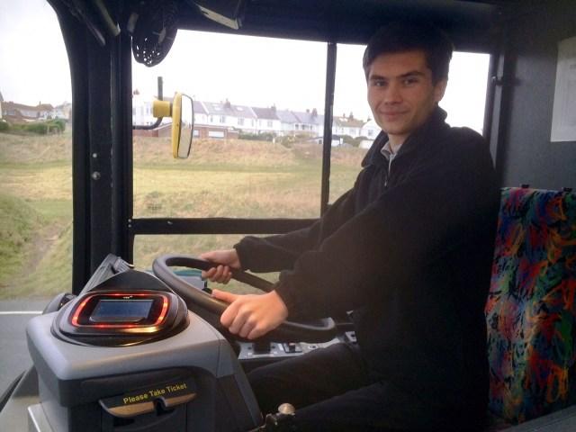 Ryan Wrotny driving a Big Lemon bus