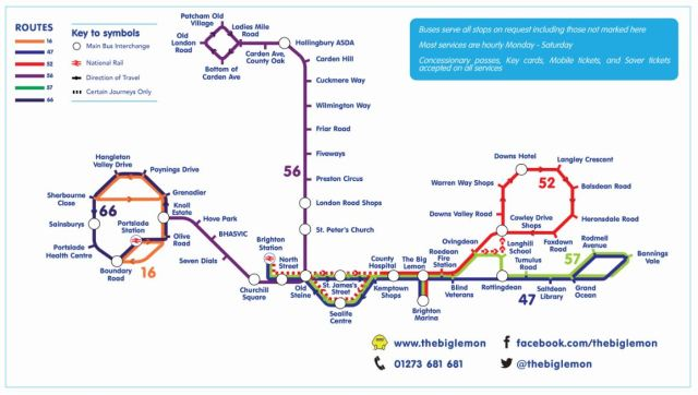 The Big Lemon Brighton & Hove Bus Route Map 2018
