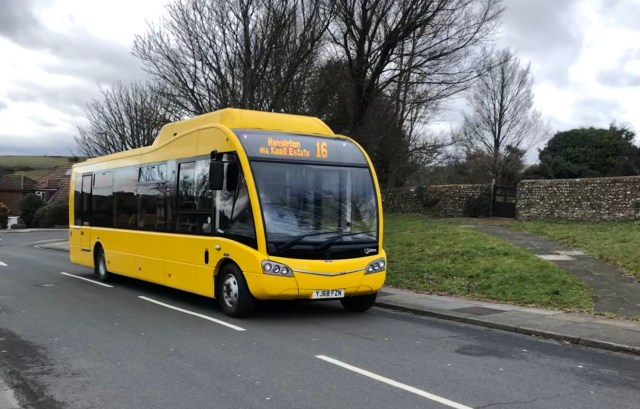 The Big Lemon solar powered electric bus in Brighton & Hove