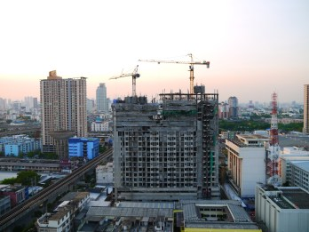 One of the many new apartment buildings being built
