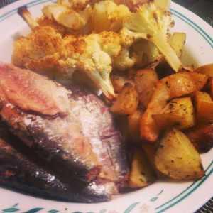 Sardines, roasted potatoes and roasted cauliflower