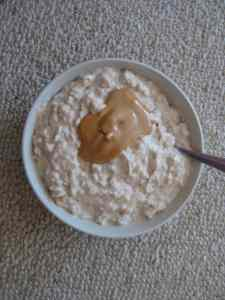 Overnight oats topped with Barney Butter