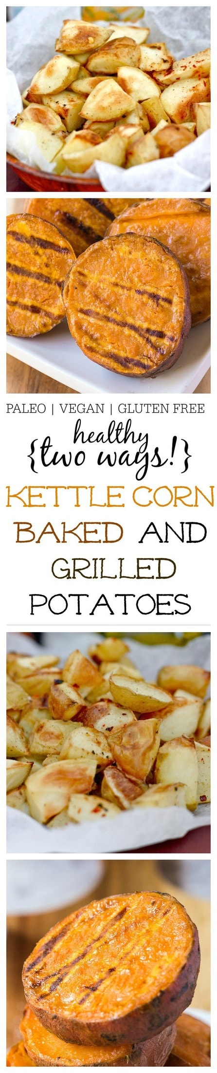 Kettle Corn Baked and Grilled Potatoes- Baked not fried, the humble potato gets a delicious (and healthy!) makeover for a flavour lovers dream! Sweet, salty and a little bit of spice, these kettle corn baked potatoes are paleo, gluten free, vegan, dairy free and are the perfect side for your picnic and are even delicious grilled! @thebigmansworld- thebigmansworld.com