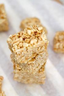 Healthy No Bake Rice Crispy Treats (Gluten Free, Vegan)- thebigmansworld.com
