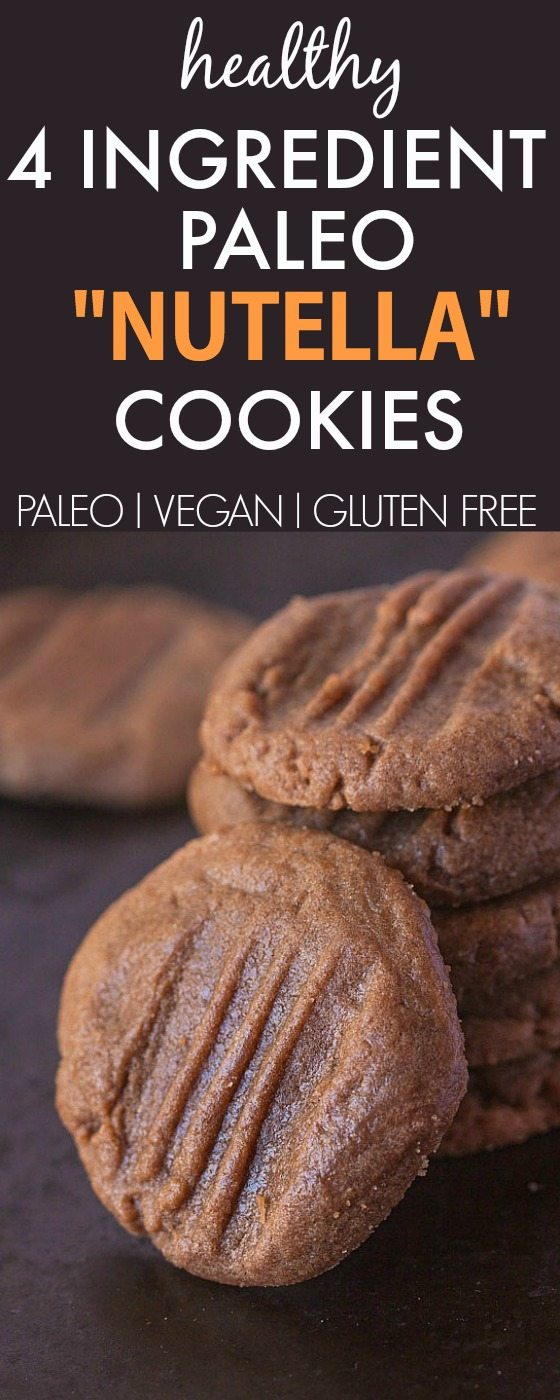 """Healthy 4 Ingredient Paleo """"Nutella"""" Cookies- Super chewy and insanely delicious, these secretly healthy cookies are completely grain-free and ready in minutes! {vegan, gluten free, paleo recipe}- thebigmansworld.com"""