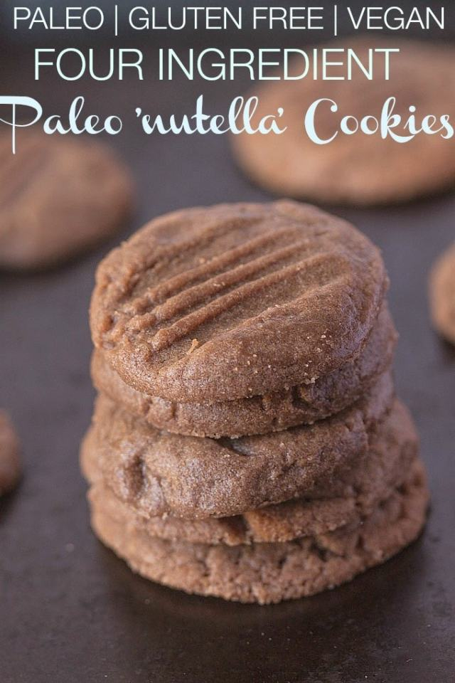 4 Ingredient Paleo 'Nutella' Cookies- A delicious #paleo friendly #cookie which requires 1 bowl and TEN minutes to whip up- The best bit? Just 4 ingredients needed! Naturally #glutenfree and with a #vegan option! -thebigmansworld.com