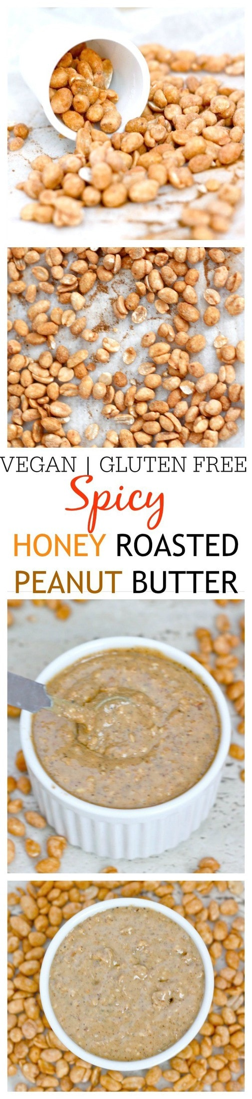 Spicy Honey Roasted Peanut Butter- Just 5 minutes and a high speed blender is all you'll need to whip up the BEST tasting peanut butter ever- Spicy, sweet, salty- It's a texture lover's dream which is also gluten free, refined sugar free and a vegan option!  @thebigmansworld -thebigmansworld.com