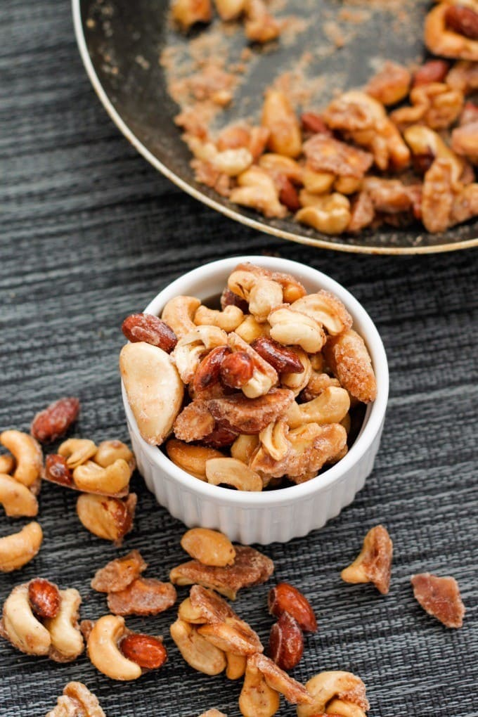 Healthy Caramelized Nuts- No oven needed (made stovetop!) and 100% sugar free- A guilt free snack, gift or dessert! {vegan, gluten free, paleo recipe}- thebigmansworld.com