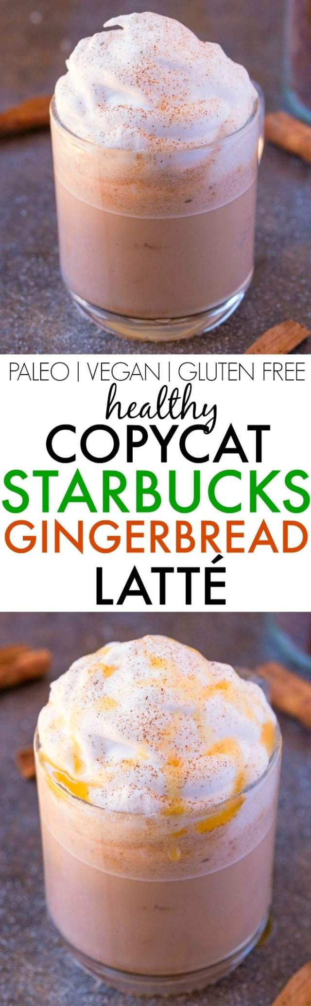 Healthy COPYCAT STARBUCKS Gingerbread Latte- Made with NO sugar, NO dairy and NO nasties, it's 100% better for you and SO much cheaper! {vegan, gluten free, dairy free, paleo recipe}- thebigmansworld.com