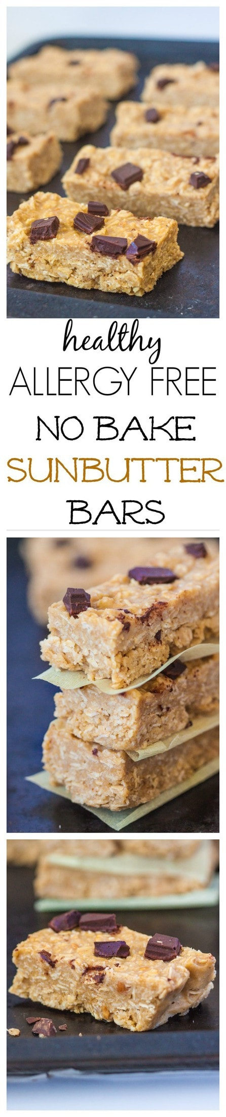 No Bake Sunbutter Bars- A delicious, allergy friendly granola bar which requires 1 bowl and 10 minutes to whip up! The perfect snack to tide you over between meals- Gluten free and vegan too. @thebigmansworld - thebigmansworld.com
