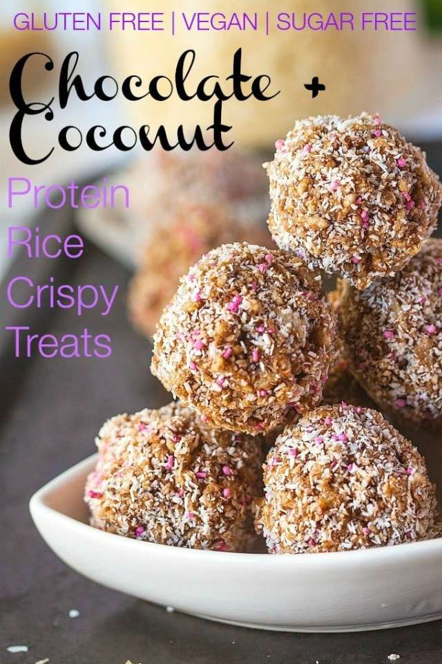 Chocolate Protein Rice Crispy Treats- A delicious #vegan #glutenfree and #sugarfree no bake treat perfect for snacking or pre/post workout nutrition! - thebigmansworld.com