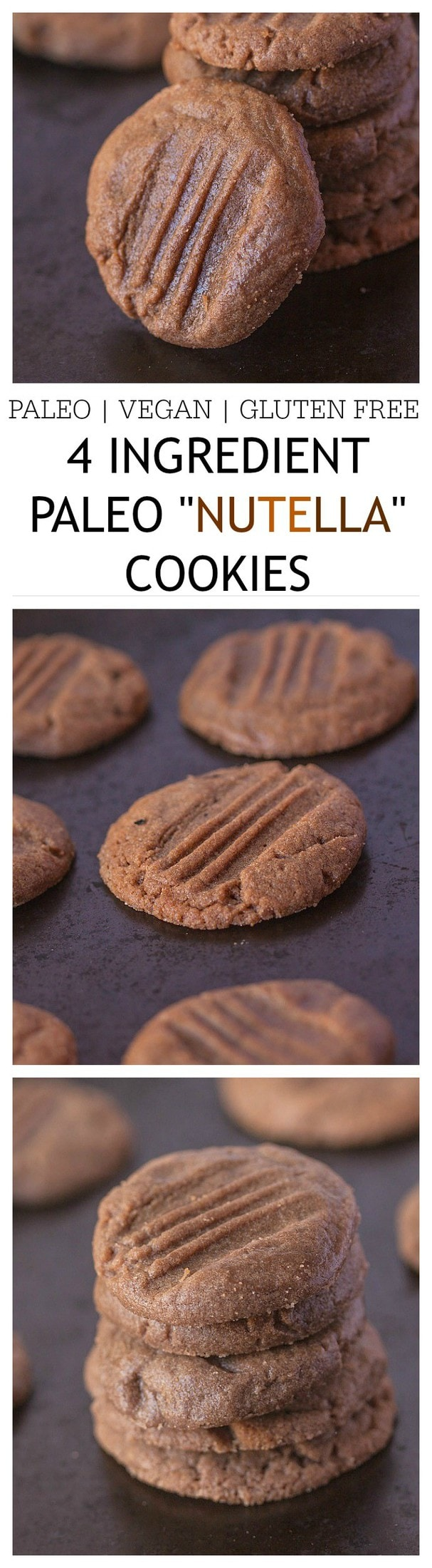 "Healthy 4 Ingredient Paleo ""Nutella"" Cookies- Just FOUR ingredients are needed to make these paleo friendly 'nutella' cookies- 1 bowl, 10 minutes and you'll have chewy, delicious and healthy cookies ready! Paleo, gluten free and a vegan option too! @thebigmansworld - thebigmansworld.com"
