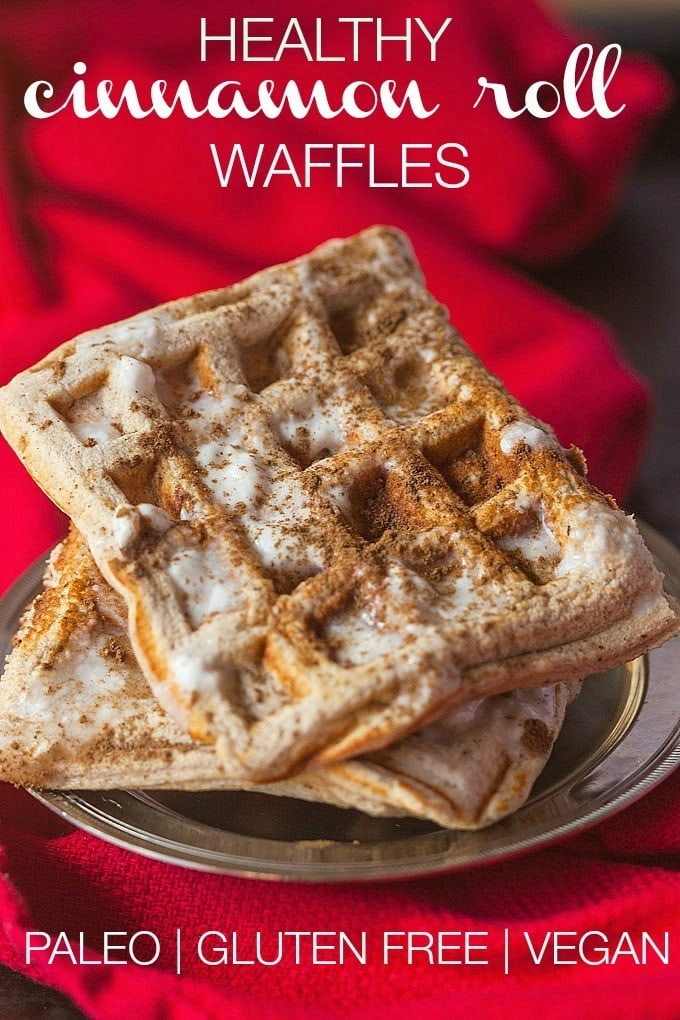 Healthy Cinnamon Roll Waffles- Have your house smelling like Cinnabon with these #healthy Cinnamon Roll Waffles which are #vegan #paleo and #glutenfree- High in #protein and completely #sugarfree- -thebigmansworld.com