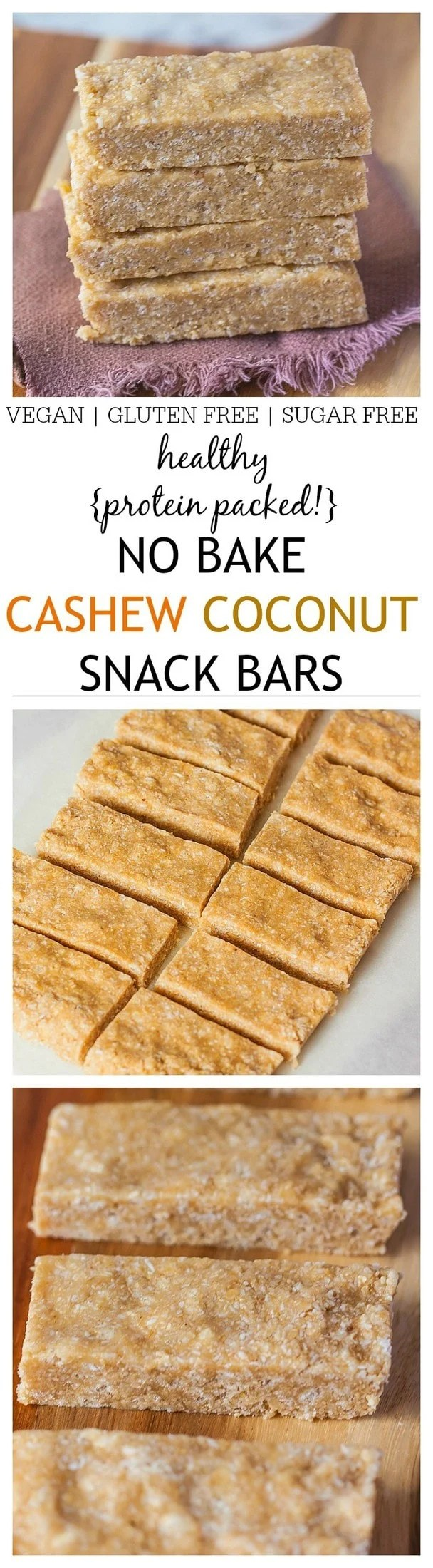 Healthy {Protein Packed} No Bake Cashew Coconut Snack Bars- A healthy, delicious, no bake protein bar which uses 1 bowl and takes 5 minutes- No food processor necessary! Perfect for on the go snacking and suitable for those following a gluten free, dairy free or vegan diet! @thebigmansworld -thebigmansworld.com