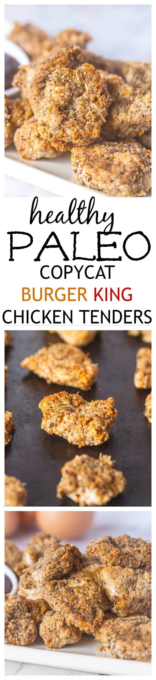 Copycat {PALEO FRIENDLY} Burger King Chicken Tenders- A Paleo twist on Burger King's infamous chicken tenders- Baked not fried for a much healthier and delicious option- Super simple and a guaranteed hit for an easy weeknight meal or to pack for lunches!  @thebigmansworld - thebigmansworld.com