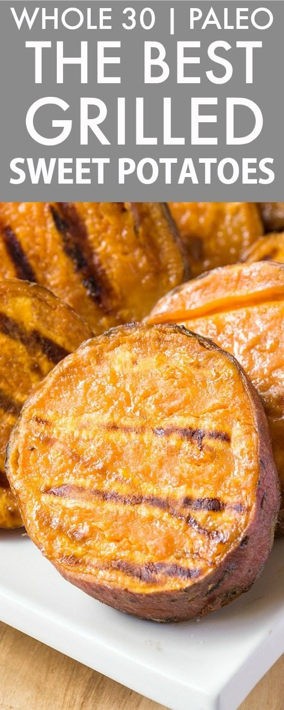 The BEST Grilled Sweet Potatoes (Whole 30, Paleo, V, GF)- Whole30 friendly and SO addictive- This quick, EASY and healthy meat-free dish will be a favorite! Perfect for dinner, lunch or snacks! {whole 30, paleo, vegan, gluten free recipe}- thebigmansworld.com