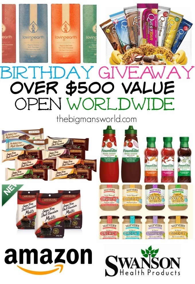 The Ultimate Birthday Giveaway- Open WORLDWIDE, 3 winners and over $500 value each! - enter- thebigmansworld.com