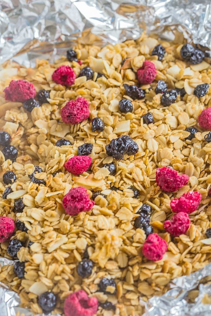 Easy (and healthy!) Grilled Granola- Customisable + can be made stovetop! Vegan, GF + Allergy friendly! @thebigmansworld - thebigmansworld.com