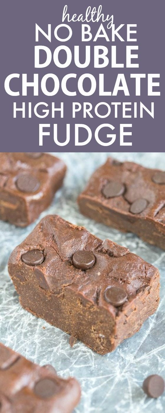Healthy NO BAKE Double Chocolate Fudge - LOADED with chocolate flavor, but secretly packed with protein and made with NO butter, oil or sugar- One of the most popular pins! {vegan, gluten free, paleo recipe}- thebigmansworld.com