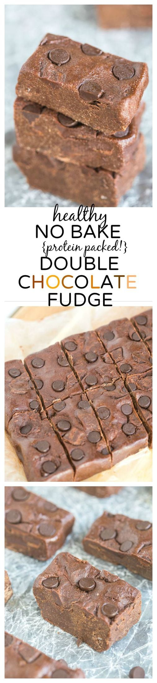 Healthy No Bake Double Chocolate Fudge- A delicious dessert or snack- naturally gluten free, there's a vegan, paleo and high protein option!