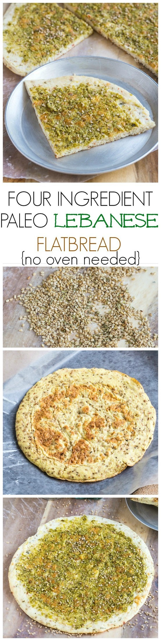 Paleo Lebanese Flatbread- Just four ingredients are needed and no oven- A delicious low carb snack or light meal! {Paleo, Whole 30 and gluten free!}
