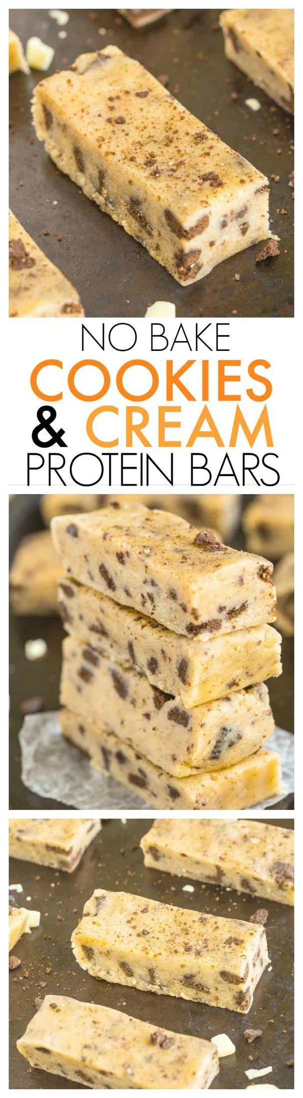 Healthy No Bake Cookies and Cream Protein Snack Bars- Just 10 minutes and 1 bowl to whip these up- Soft, chewy and no refrigeration needed- They taste like candy! {vegan, gluten free, refined sugar free + paleo option!}