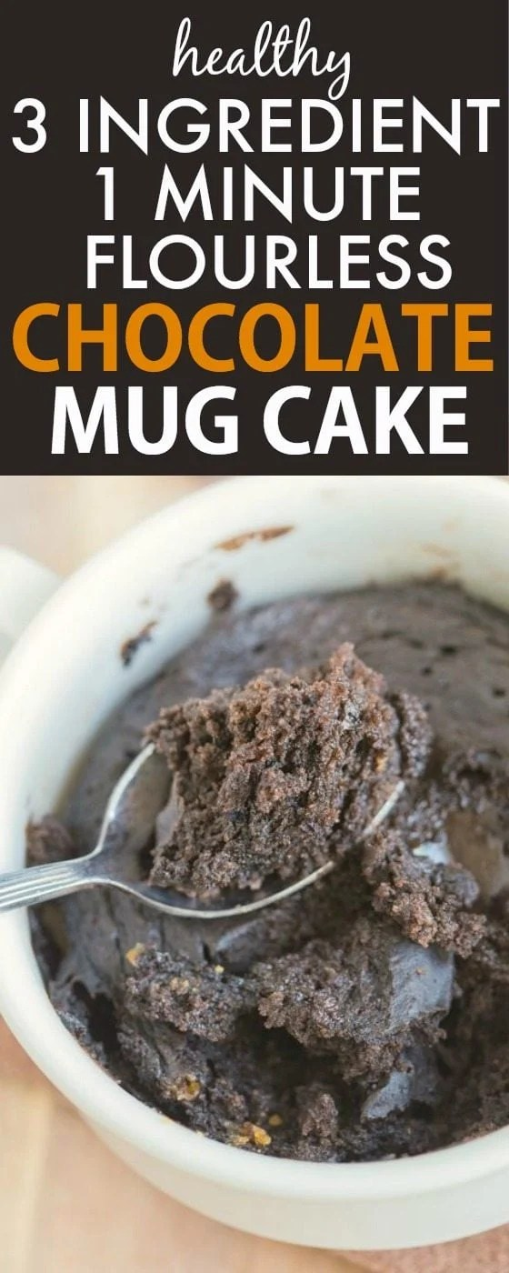 Healthy 3 Ingredient Chocolate Mug Cake made with THREE easy ingredients (and one minute!) and no boxed mix- NO butter, oil, flour, grains or sugar yet 100% EASY + DELICIOUS! {vegan, gluten free, paleo recipe}- thebigmansworld.com