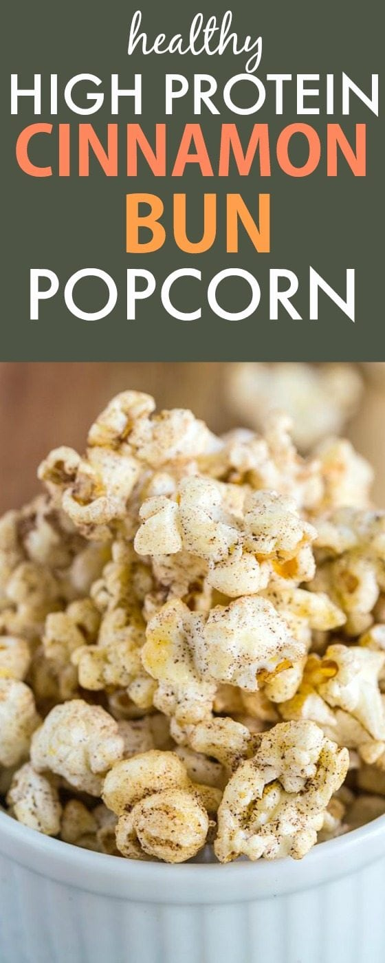 Healthy (and EASY!) Cinnamon Bun Air Popped Popcorn which is packed with protein and made with NO sugar, oil or nasties! {vegan, gluten free, sugar free recipe}- thebigmansworld.com