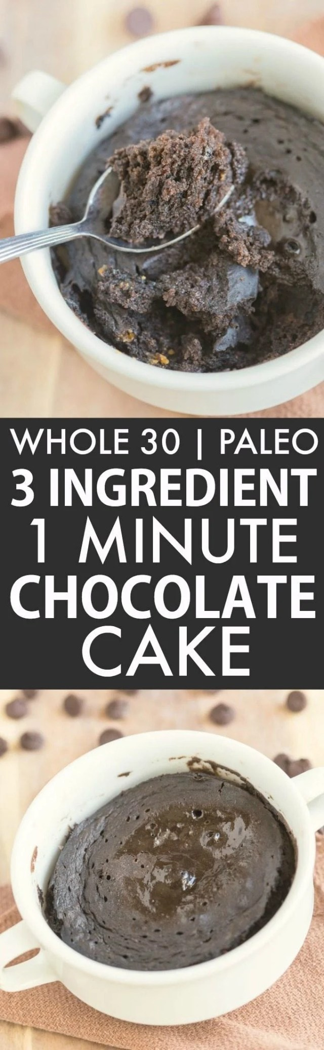 3 Ingredient 1 Minute Chocolate Cake Bake (Whole 30, Paleo, V, GF)- Whole30 friendly breakfast or snack which uses just THREE ingredients- Flourless, grain-free and fruit based and sweetened! Microwave mug cake or oven option! {whole 30, paleo, vegan, gluten free recipe}- thebigmansworld.com