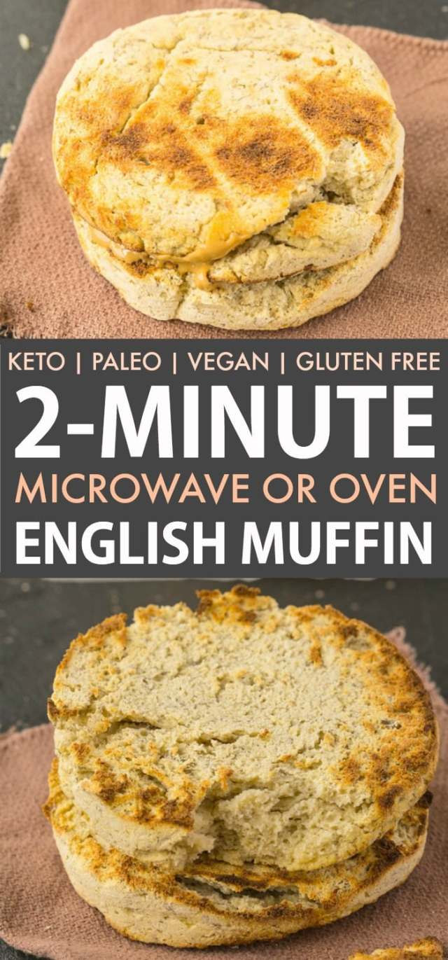 A recipe for an English Muffin in the microwave that tastes like banana bread! Easy, vegan and keto!