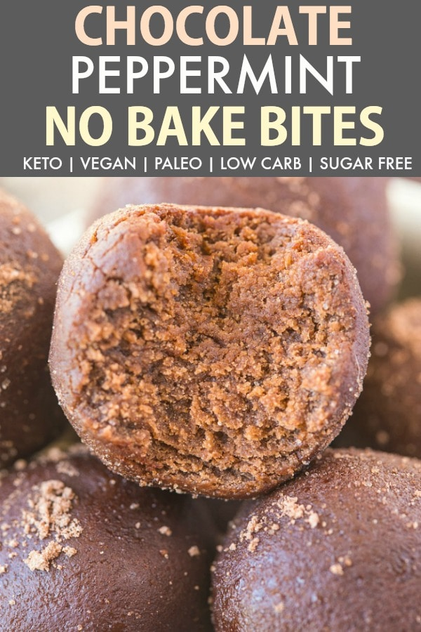 No Bake Peppermint Chocolate Bites are an easy 5-minute christmas or holiday paleo, vegan, keto and sugar-free recipe! Soft, chewy, protein-packed and delicious energy bites loaded with peppermint! #ketodessert #ketorecipe #vegandessert #christmasrecipe #energybites #proteinbites