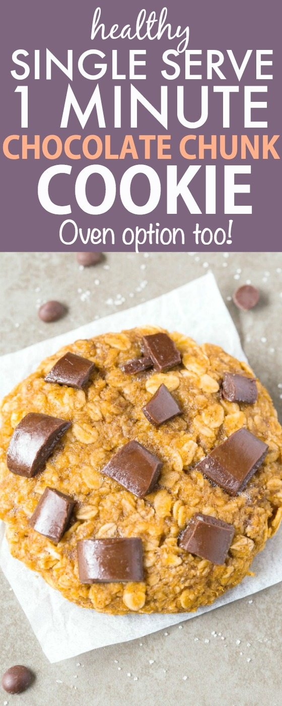 Healthy SINGLE SERVE GIANT Chocolate Chunk Cookie ready in just ONE minute- NO butter, NO oil, NO grains and NO sugar- It's packed with protein, portion controlled, can be made in the microwave or oven- Satisfy those cookie cravings! {Vegan, gluten free, paleo recipe}- thebigmansworld.com