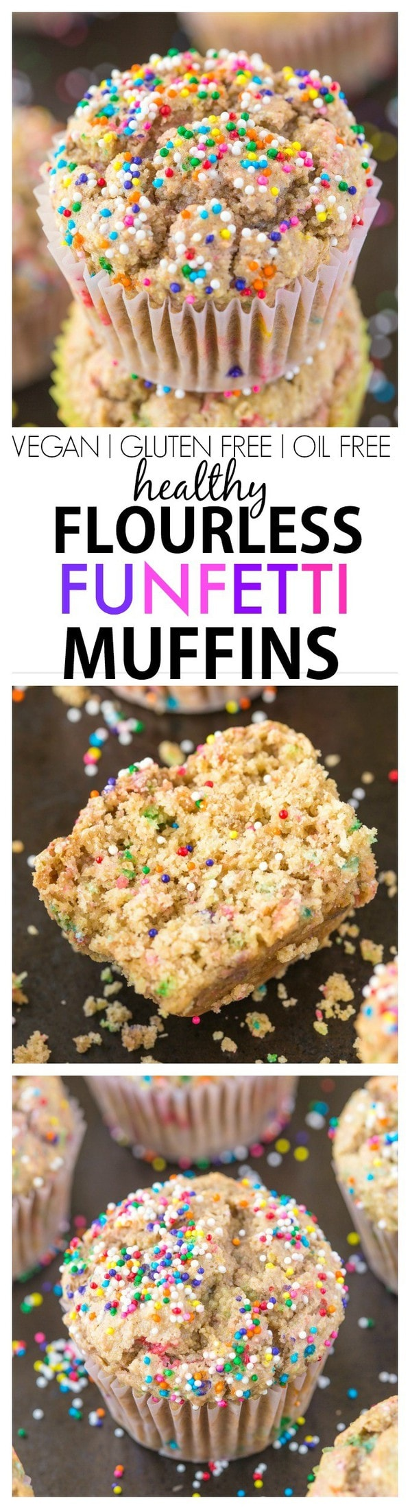 Healthy One Bowl Flourless Funfetti Muffins- Moist, fluffy and sinful tasting but so healthy- There's NO butter or oil and can be made sugar free! {vegan, gluten free, sugar free)