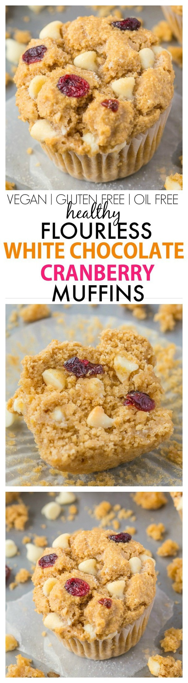 Moist, light and fluffy on the inside, you won't believe these flourless white chocolate cranberry muffins have NO butter, oil, eggs or refined sugar in them! {vegan, gluten free recipe}