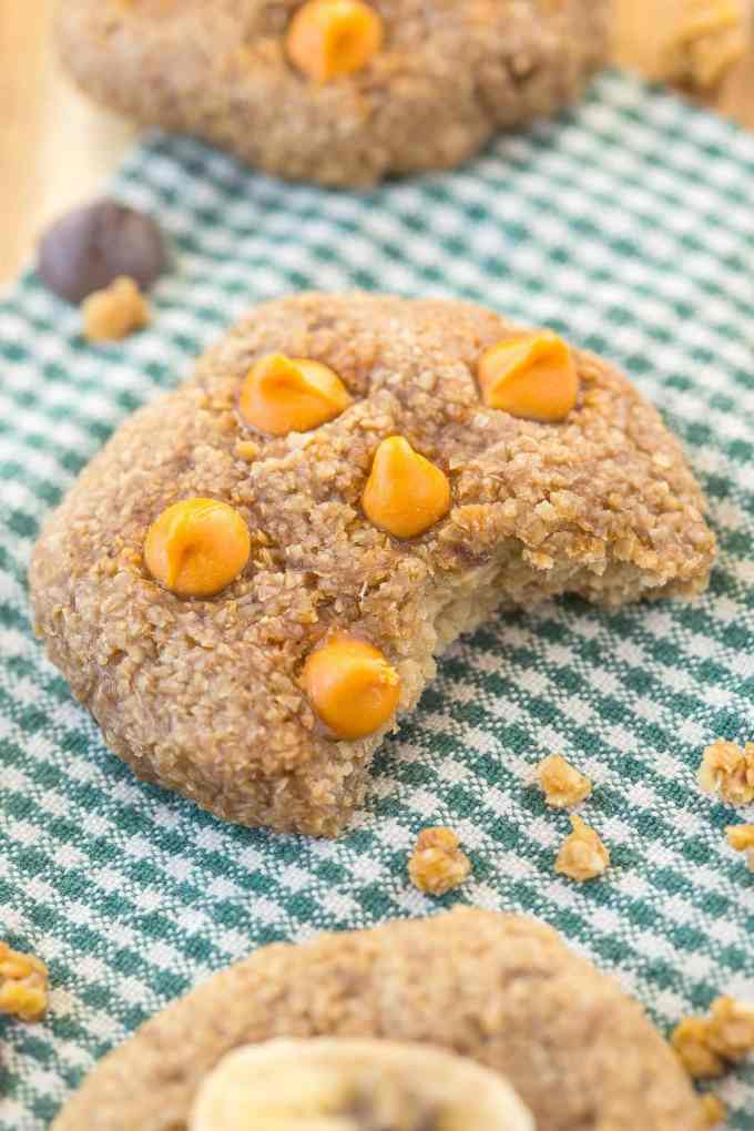 Three Ingredient Flourless Banana Bread Cookies- Soft, chewy and SO delicious, they have AMAZING texture and NO butter, oil, flour or added sugar! {vegan, gluten free, refined sugar free}