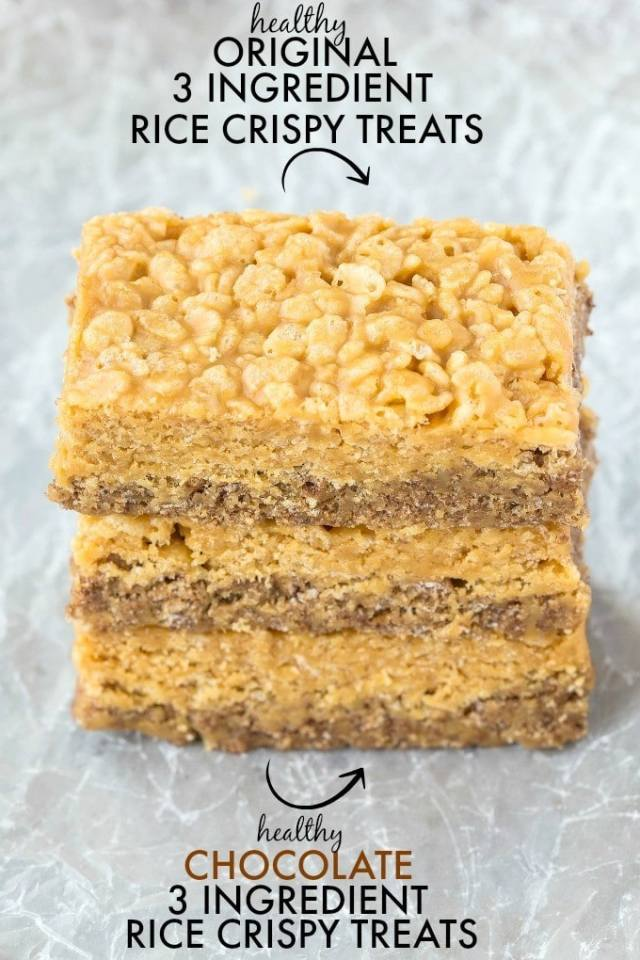 Healthy 3 Ingredient MARBLE rice crispy treats- Half original, half chocolate- NO nasties and just THREE healthy ingredients- No baking required! {vegan, gluten free recipe}