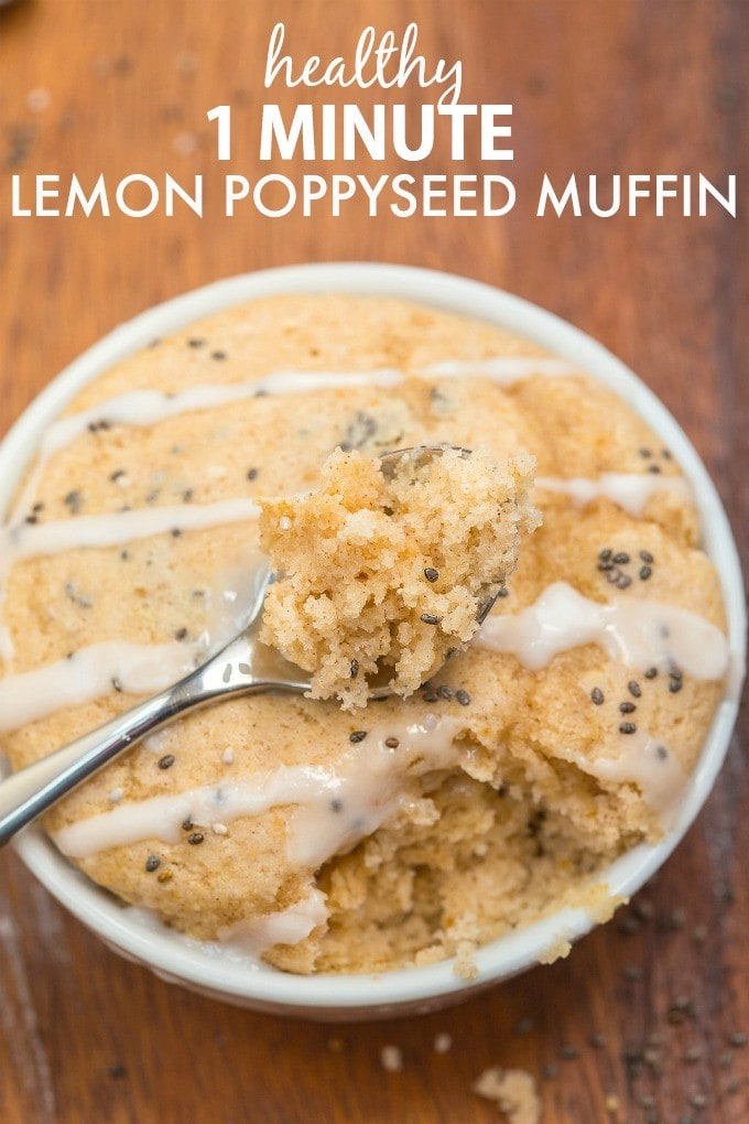 Healthy 1 minute Lemon Poppyseed Muffin- Moist and fluffy on the inside and tender on the outside, these have NO butter, oil or sugar in them but you'd never tell- Oven option too! {vegan, gluten free, paleo recipe}- thebigmansworld.com